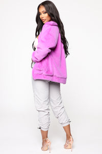 Places To Be Faux Fur Jacket - Purple Angle 5