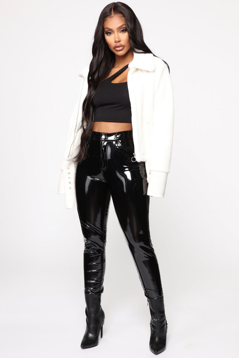 Let's Get Real Faux Fur Moto Jacket - White