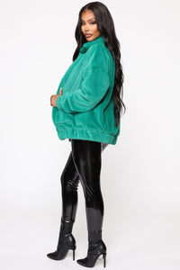 Places To Be Faux Fur Jacket - Kelly Green Angle 4