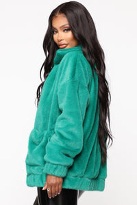 Places To Be Faux Fur Jacket - Kelly Green Angle 3