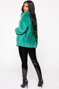 Places To Be Faux Fur Jacket - Kelly Green Angle 5