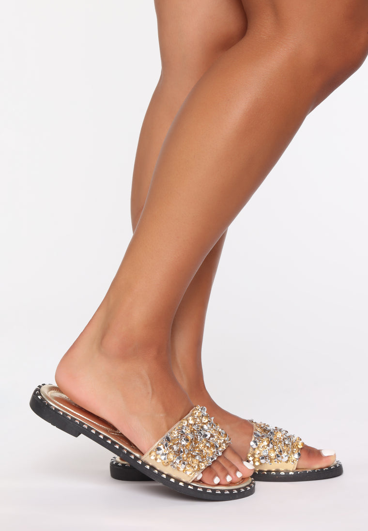 Not Looking Back Flat Sandals - Gold