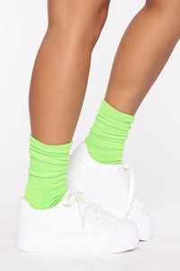 Don't Mess With My Crew Socks - Neon Green