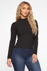 In My World Puff Sleeve Top - Black