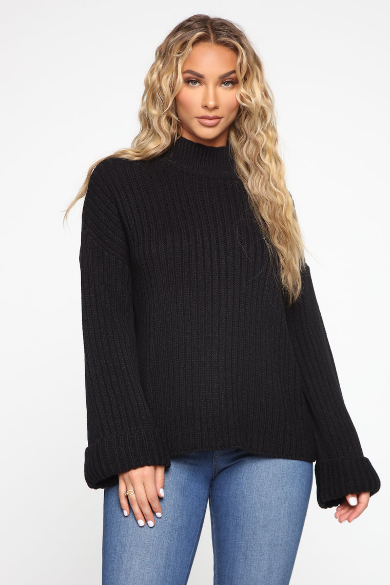 With All My Love Turtle Neck Sweater - Black