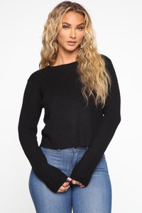 Lilly Lace Up Sweater - Black Angle 1