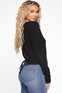 Lilly Lace Up Sweater - Black Angle 2