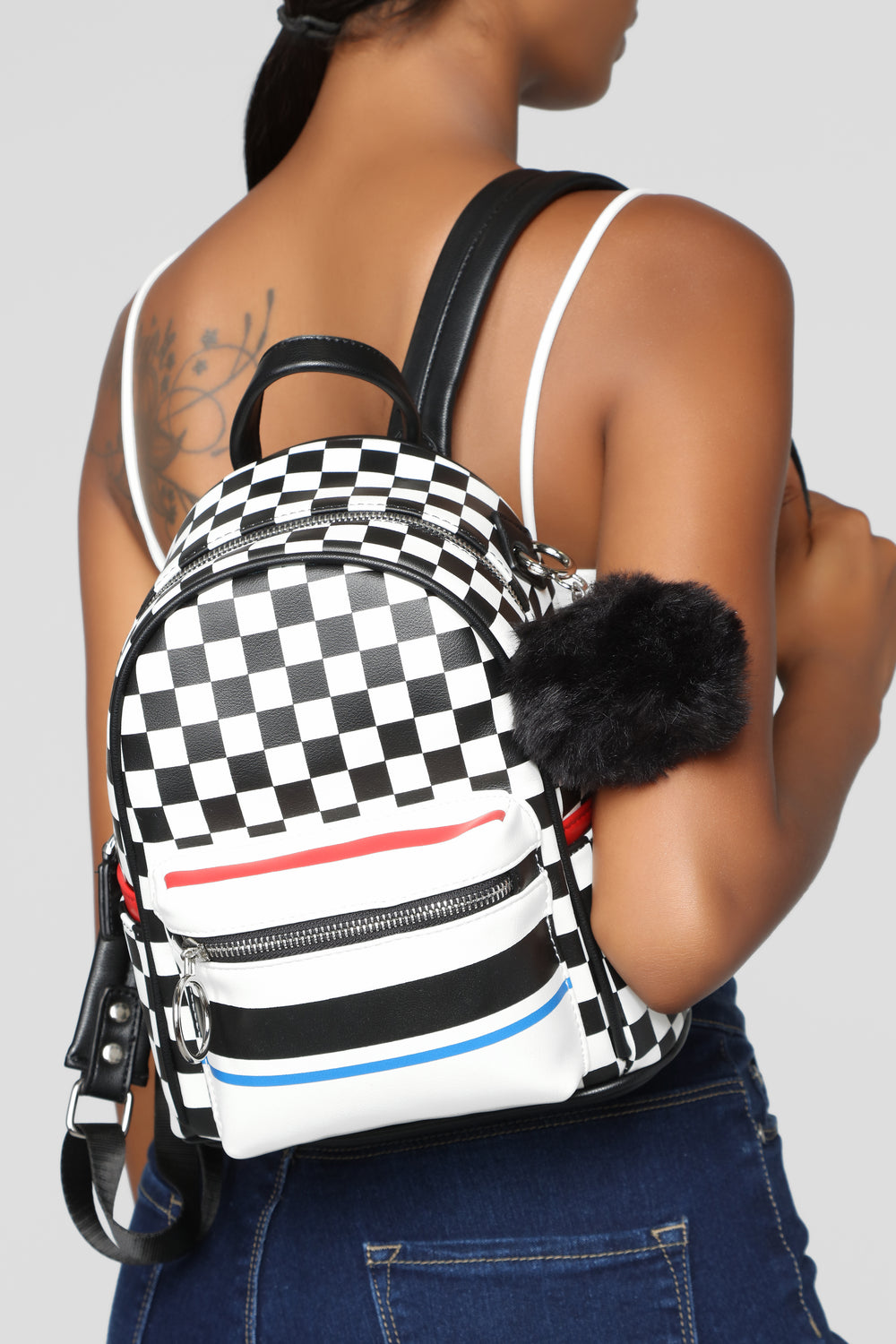 Put You In Check Backpack - White/Black