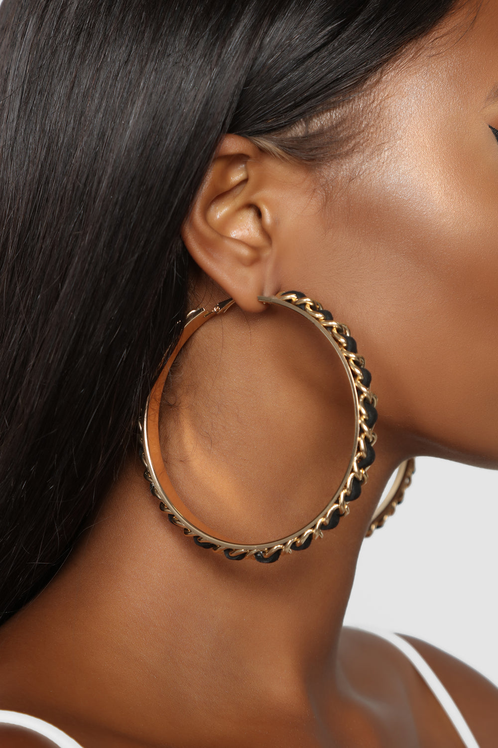 Time For A Chain Earrings - Black/Gold