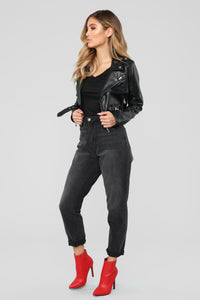 Remind Me Later Faux Leather Jacket - Black