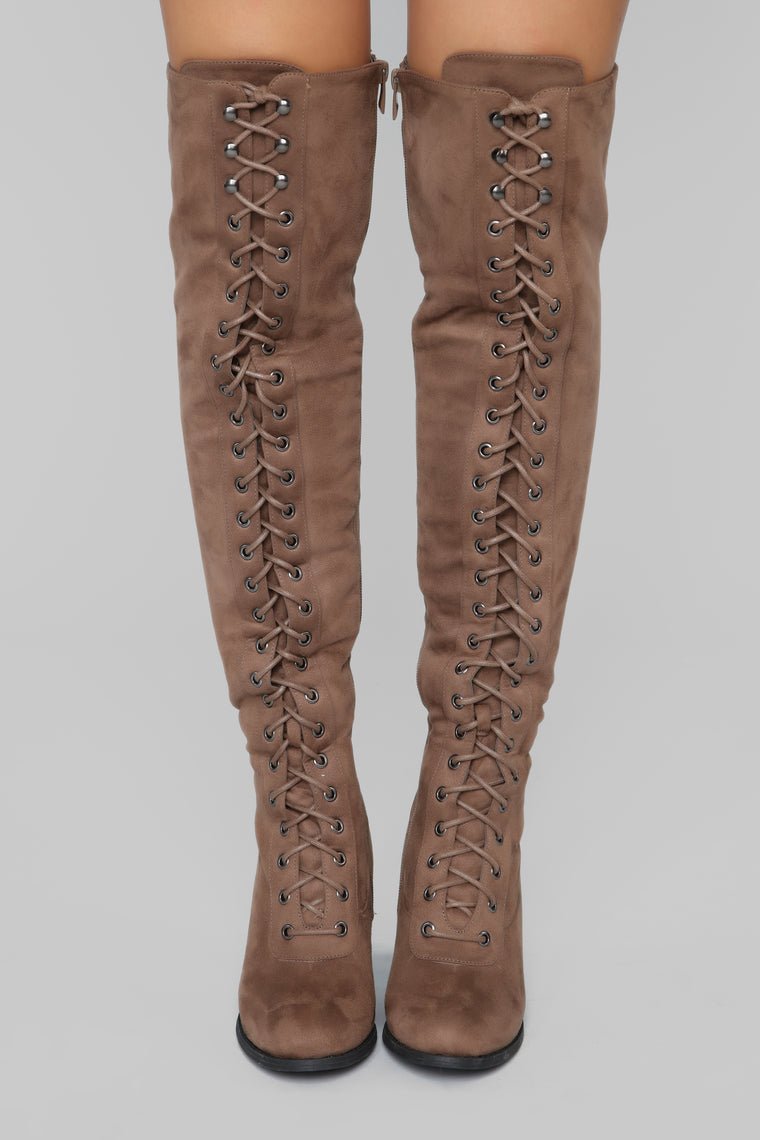 Jaye Over The Knee Boot - Taupe