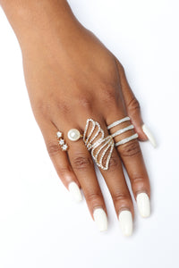 Only Pearl In The World Ring Set - Gold