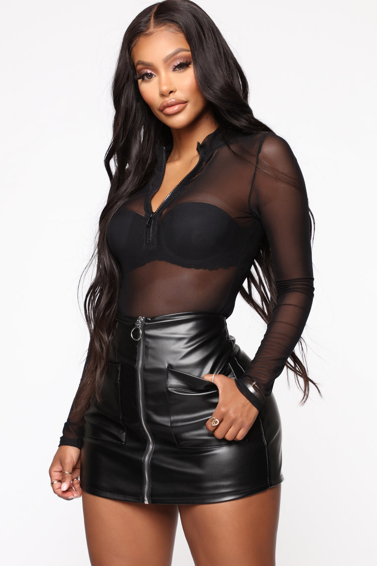 Look At Me Now Mesh Bodysuit - Black
