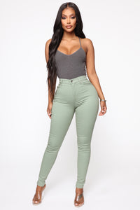 Monday Morning Skinny Pants - Sage Angle 2