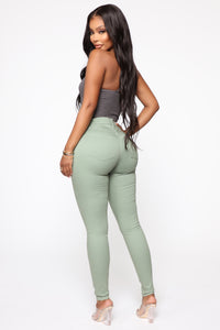 Monday Morning Skinny Pants - Sage Angle 5