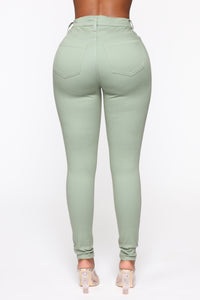 Monday Morning Skinny Pants - Sage Angle 6