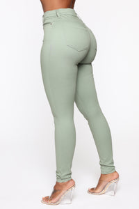 Monday Morning Skinny Pants - Sage Angle 3
