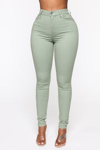 Monday Morning Skinny Pants - Sage Angle 1