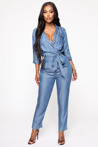 Denise Chambray Jumpsuit - Medium Wash