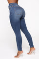 Flip Flop Exposed Button Skinny Jeans - Medium Blue Wash