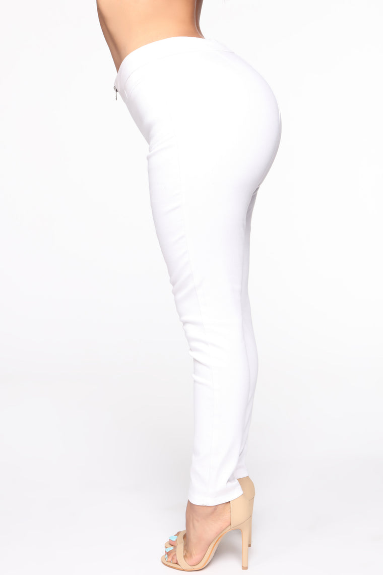 Can Be Anything Zip Skinny Jeans - White