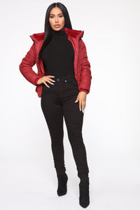 Never A Problem Puffer Jacket - Burgundy Angle 2