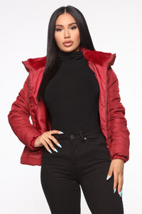Never A Problem Puffer Jacket - Burgundy Angle 1