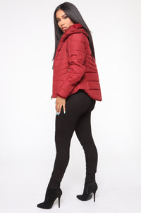 Never A Problem Puffer Jacket - Burgundy Angle 4