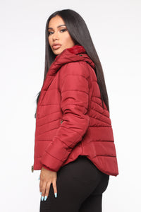 Never A Problem Puffer Jacket - Burgundy Angle 3