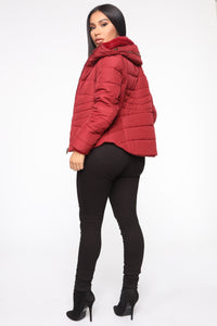 Never A Problem Puffer Jacket - Burgundy Angle 5
