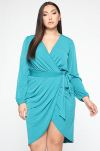 Wrapped In Success Mini Dress - Jade Angle 5