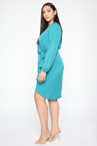 Wrapped In Success Mini Dress - Jade Angle 7