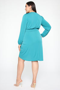 Wrapped In Success Mini Dress - Jade Angle 8