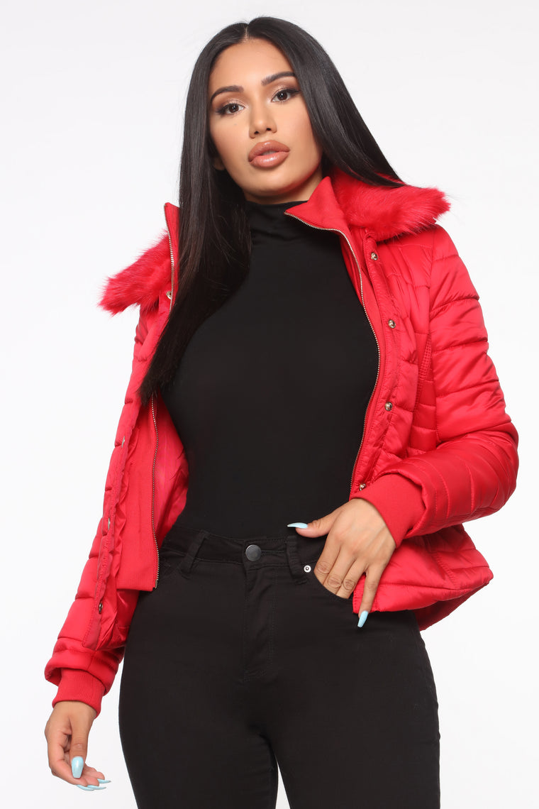 You're Feeling Warmer Puffer Jacket   Red by Fashion Nova