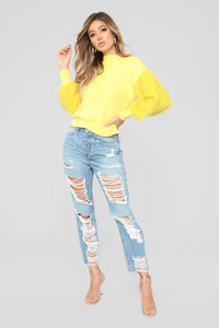 Monique Faux Fur Sweater - Yellow