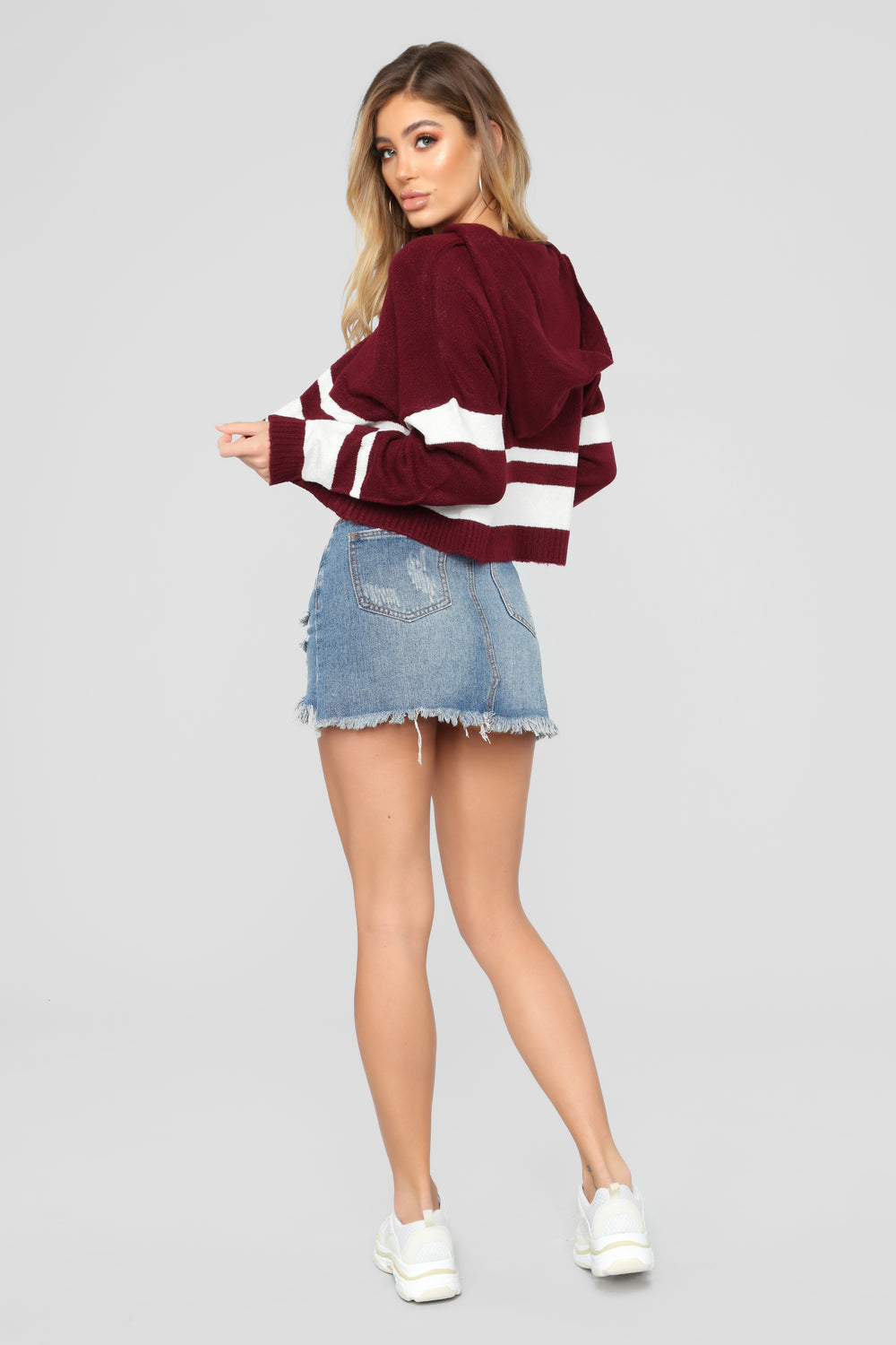 Can't Stop Won't Stop Hooded Sweater - Burgundy/Combo