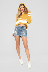 Can't Stop Won't Stop Hooded Sweater - Mustard/Combo