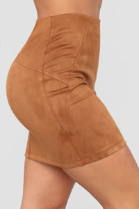 Alicia Faux Suede Skirt - Camel
