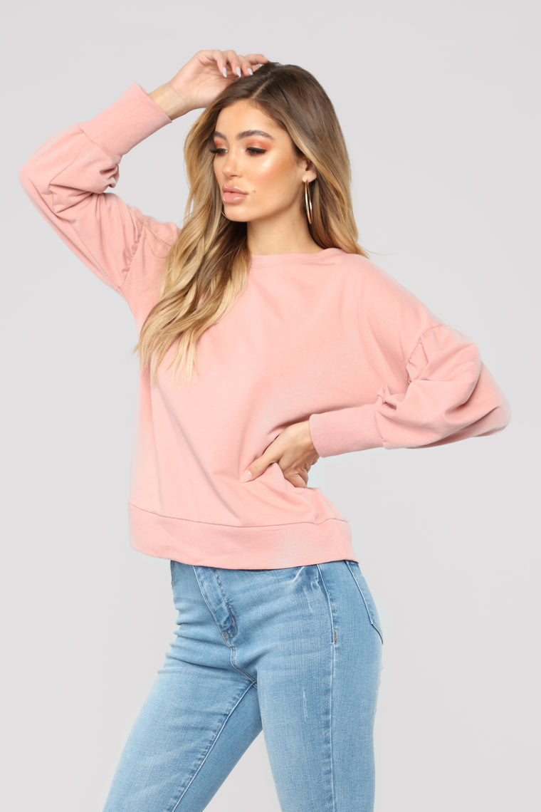 Cardee Balloon Sleeve Top - Mauve