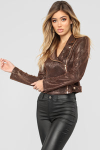 Metallic Night Moto Jacket - Bronze