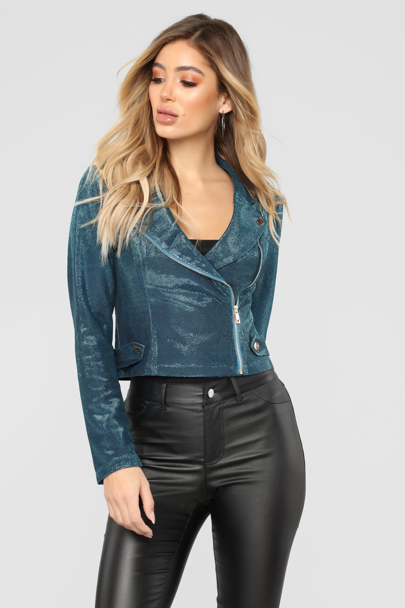 Metallic Night Moto Jacket - Blue