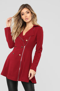 Khloe Button Collared Coat - Wine