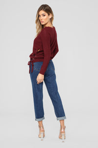 Kayden Lace Up Sweater - Burgundy