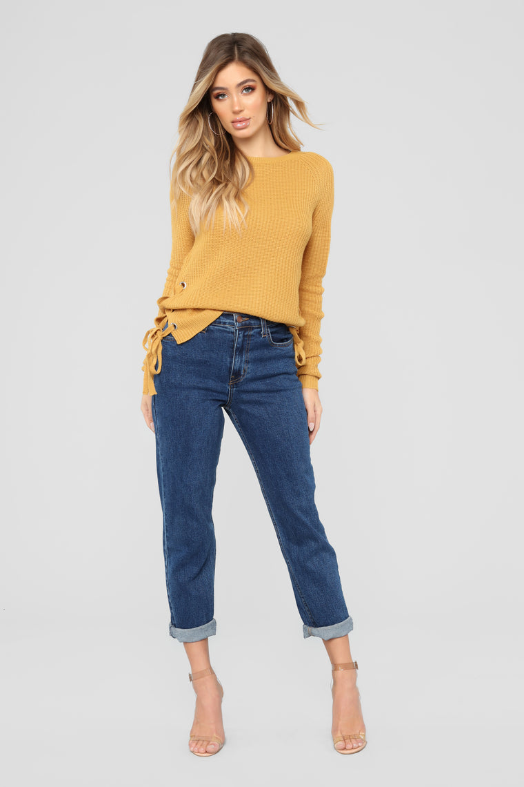 Kayden Lace Up Sweater - Mustard