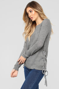 Kayden Lace Up Sweater - Heather Grey