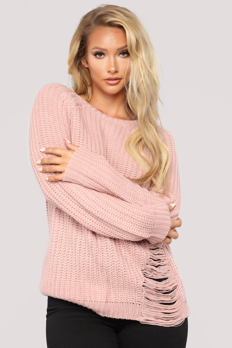 Amanda Distressed Sweater - Dusty Pink