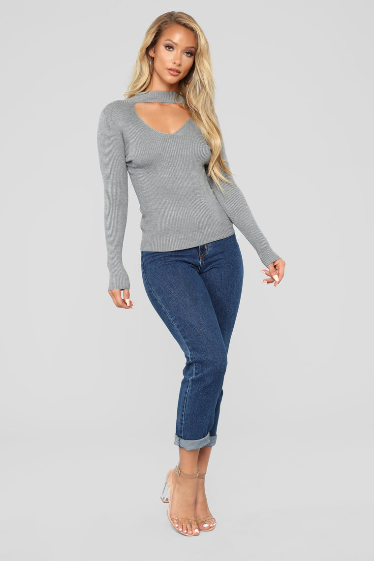 Alecia Choker Neck Sweater - Heather Grey