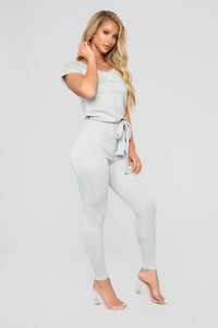 Hug Me Tight Jumpsuit - Heather Grey
