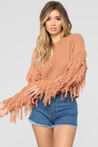 Denise Fringe Sweater - Mocha