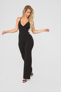 The Night We Met Rhinestone Jumpsuit - Black